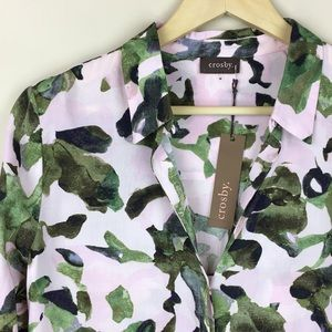 Crosby Pink + Green Watercolor Button Down Blouse